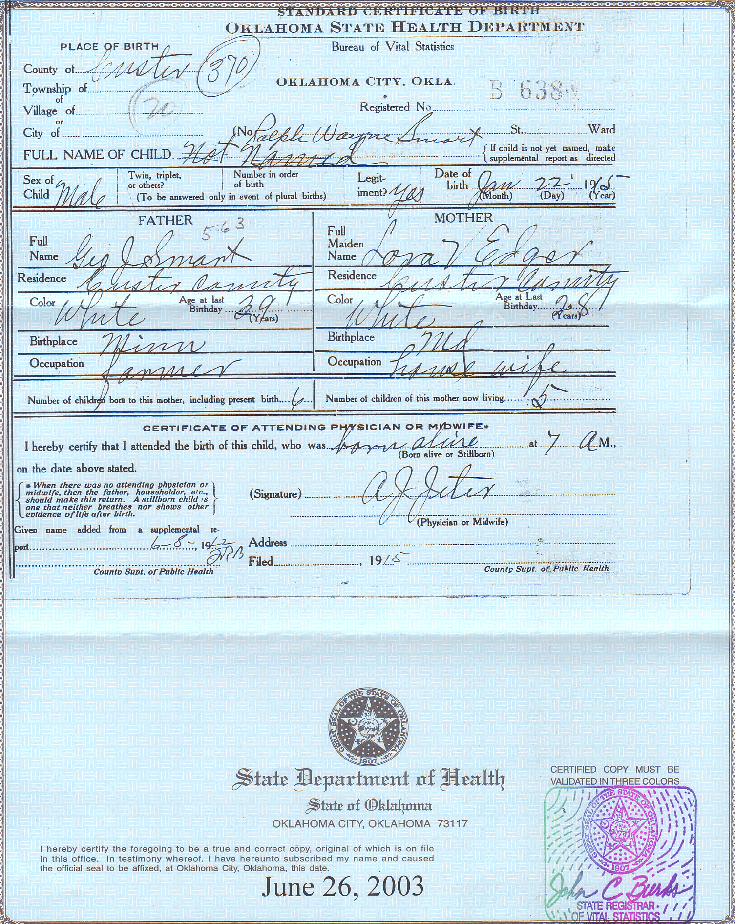 Ralph wayne smart birth certificate 1betcityfo Choice Image