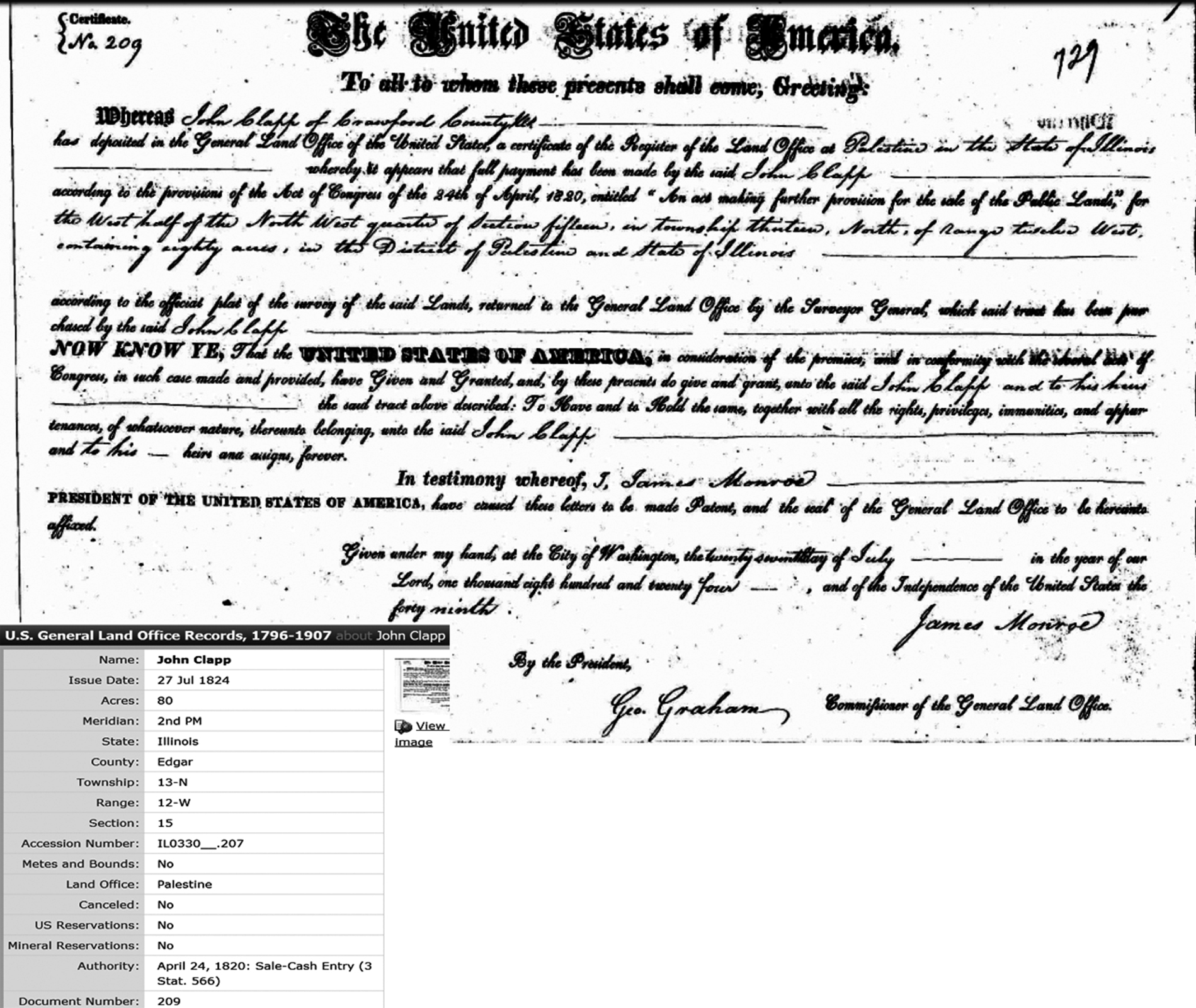 Illinois edgar county kansas - 1823 John Clapp A Resident Of Crawford County Illinois Was Granted A Homestead Deed On 80 Acres In The Palestine District Crawford County Illinois