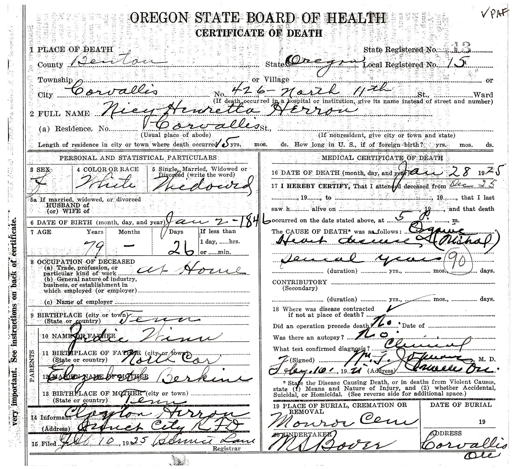 Zadok winn 1799 1852 bob oregon death certificate 28 jan 1925 nicy henretta herron father zedic winn mother elizabeth berkine 1betcityfo Choice Image